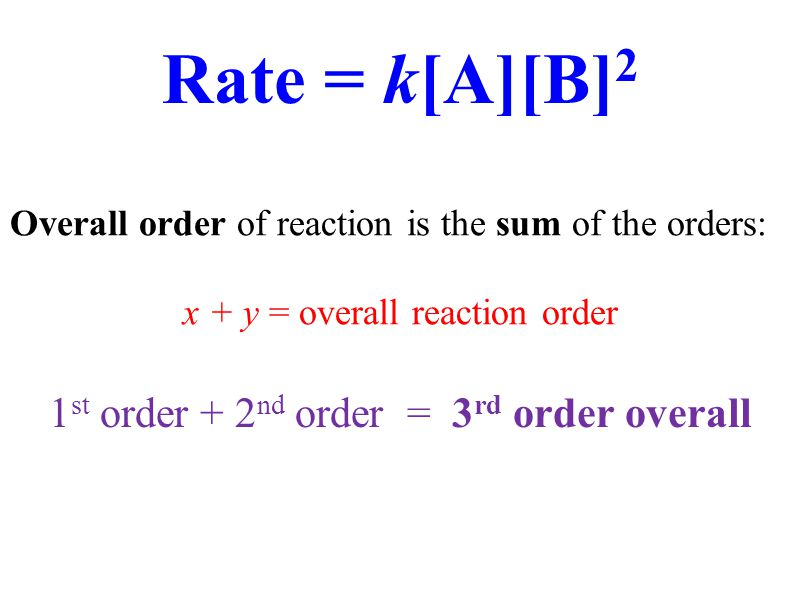 Rate = k[A][B]2 1st order + 2nd order = 3rd order overall